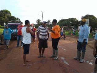 Minister Ferguson in discussion with residents