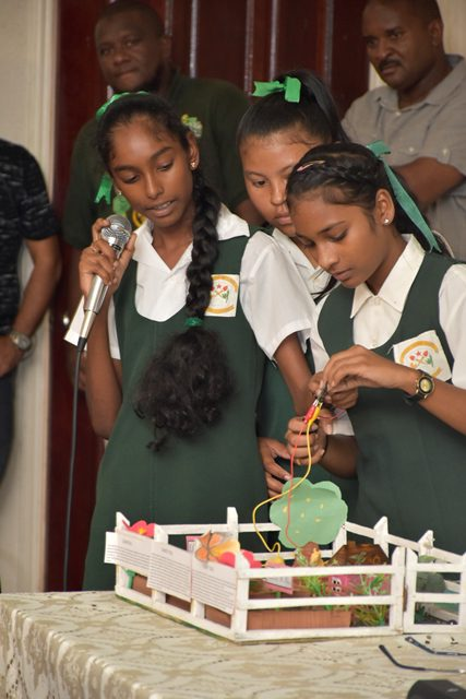 Students of the Bygeval Secondary showing how to test soil moisture using a microbit