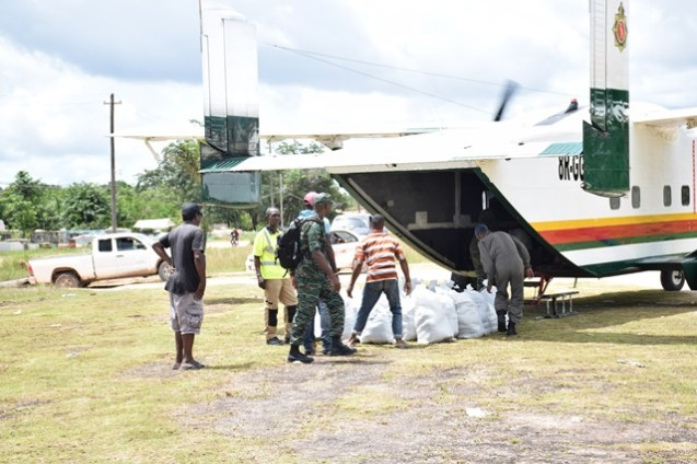 Supplies being offloaded from the skyvan