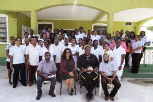 In the photo, from left to right] Assistant Regional Executive Officer (AREO), Shameer Arjune, Technical Officer of the Ministry of Social Cohesion, Pamela Nauth, Medical Superintendent, Tracey Duncan-Clarke, Regional Health Officer (RHO), Dr. Ravindra Dudhnath and health officials