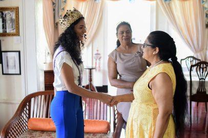 Miss World Guyana 2018, Ambika Ramraj greets Mrs. Sita Nagamootoo