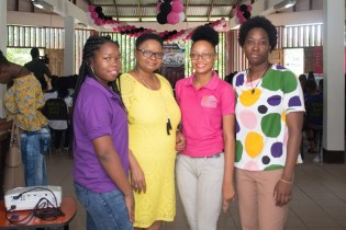 Minister of Public Health, Volda Lawrence with some of the organisers of the Girl Power Conference in Mackenzie, Linden