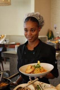Trainee Chef at Guyana Marriott's Terra Mare Restaurant, Sarafina Edghill poses with an entrée she prepared. (Entrée- Pasta Bolognese/ Marinara)