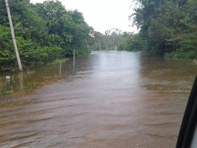 Scenes of the Kwakwani flood affected areas.