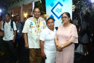 Prime Minister, Moses Nagamootoo and his wife, Mrs. Sita Nagamootoo with Toshaos and Senior Councillors.