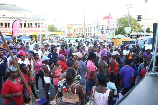 The gathering at Stabroek Market for the launch of the Women's T20 Cricket World Cup Campaign