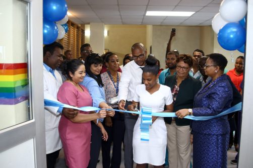 The cutting of the ribbon to the Paediatric Critical Care Unit