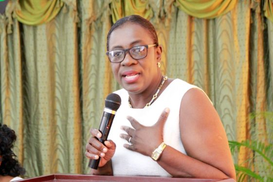 Minister of Education, Hon. Nicolette Henry speaking at the recognition ceremony