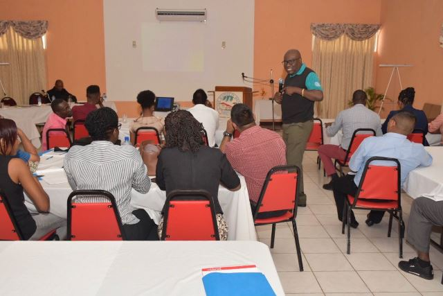 CEO Hutson conducts a session at the retreat.