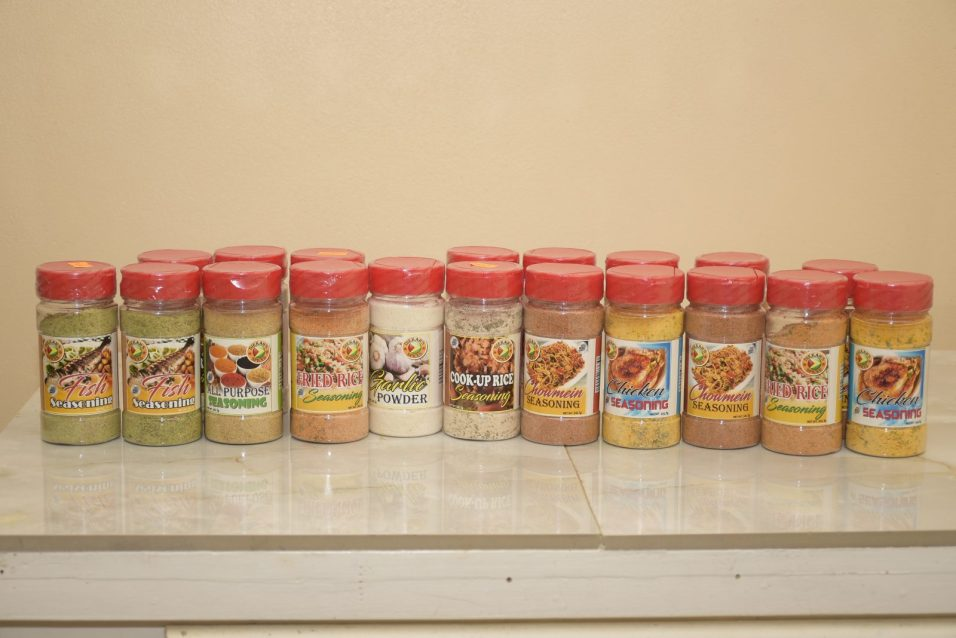 Some of the bottled seasonings offered by Diekah's Spices