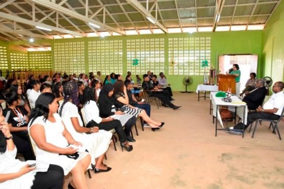 First Lady, Mrs. Sangra Granger delivering remarks at the ICT workshop's closing ceremony.