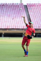 The Guyana Amazon Warriors during their practice session at the Providence National Stadium