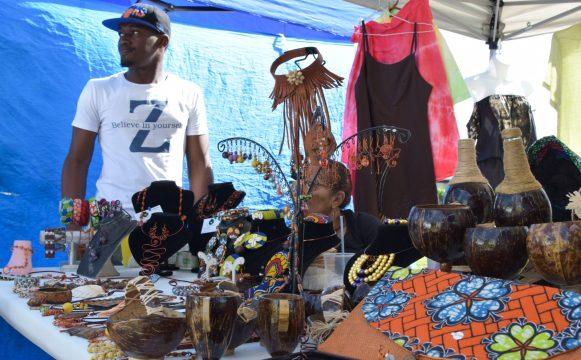 A vendor displaying his beautiful handicrafts