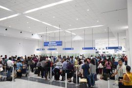 Passengers at the New Arrival Terminal at CJIA.