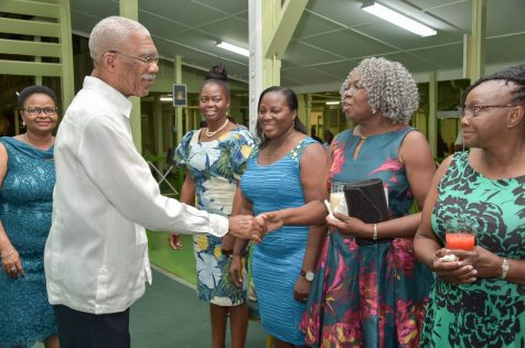 President David Granger greets members of the Guyana Nurses Association at the reception held in their honour