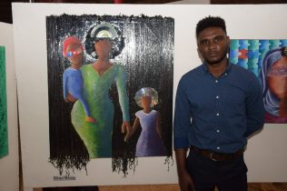 Herchelle Pellew displaying his painting