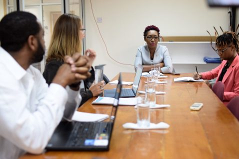 Head of Office of Climate Change, Janelle Christian makes a point during the meeting with CCCCC representatives