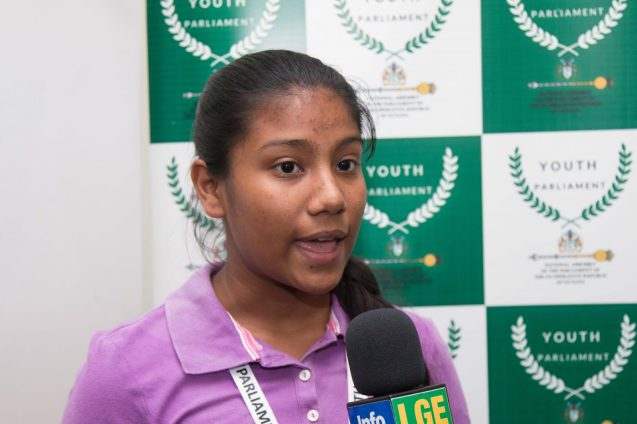 Youth Minister of State, Secondary School student, Amisha Ramdin