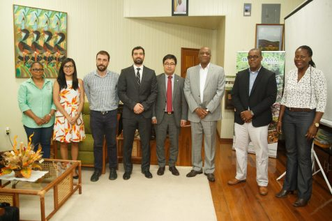 Minister of State, Joseph Harmon meeting with representatives of Global Green Growth Institute and representatives, Department of Environment