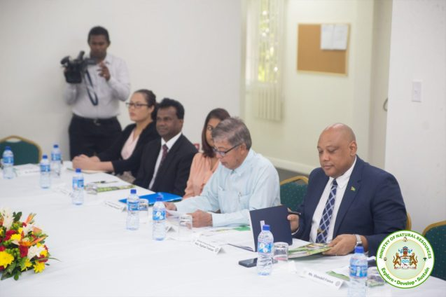 Minister Trotman and representatives of the Ministry of Natural Resources