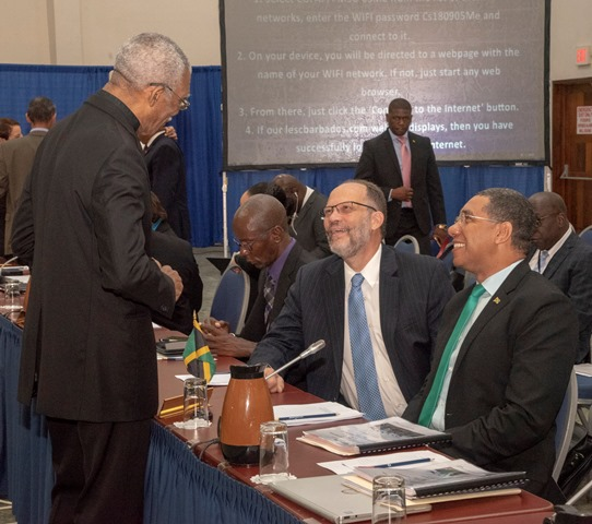 President David Granger sharing a light moment with CARICOM's Secretary-General, Irwin LaRocque and Prime Minister of Jamaica, Andrew Holness.