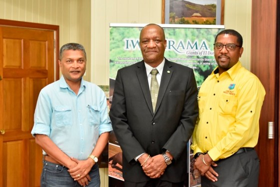 From left: Mr. Anand Sanasie, Secretary of the Guyana Cricket Board, Minister of State, Mr. Joseph Harmon and Mr. Dave Cameron.