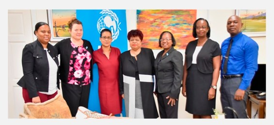 From Left - Adviser to the Minister of Social Protection, Ms. Alicia Reece, UNICEF Country Representative, Ms. Sylvie Fouet, UNICEF Education Specialist, Ms. Michele Rodrigues, Minister of Social Protection, Ms. Amna Ally, Assistant Director of Child Care Services, Ms. Leota Langford and UNICEF's Monitoring and Evaluation Specialist, Mr. Michael Gillis.