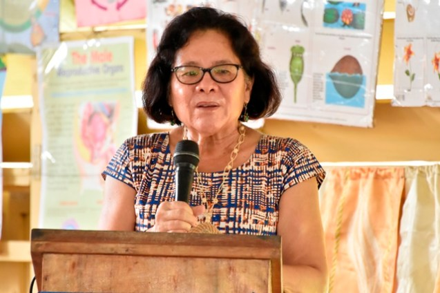 First Lady, Mrs. Sandra Granger addresses the students and teachers of the Lusignan Primary School.
