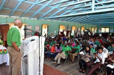 President David Granger addresses residents of Sisters Village, East Bank Berbice.