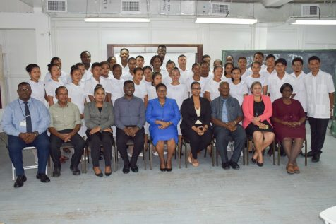 The 36 students pose with Minister of Public Health, Volda Lawrence, Chief Medical Officer, Dr. Shamdeo Persaud among others in the health sector