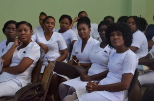 Nurses from Linden Hospital Complex and surrounding health facilities who met with Minister Lawrence.