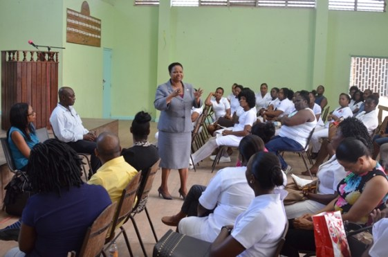 Minister of Public Health, Volda Lawrence makes a point at a recent meeting with the nurses of Region Ten.