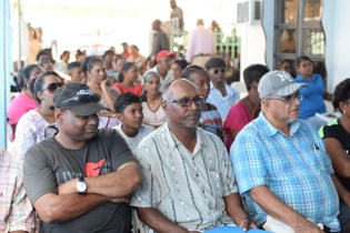Residents at the community meeting in Whim, Corentyne Berbice.