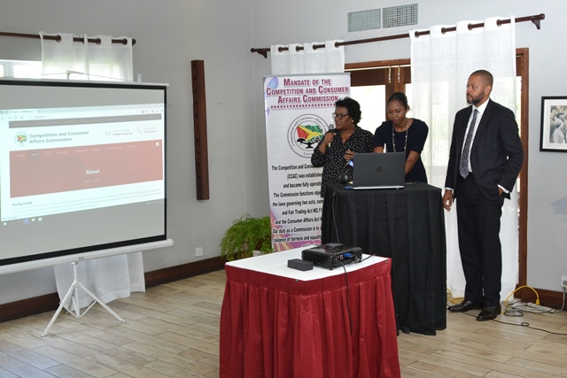 Competition and Consumer Affairs Commission (CCAC) officers demonstrate how to access the website.