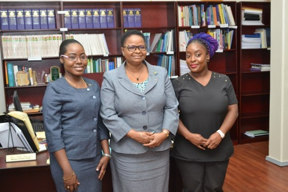[In the photo, from left to right] - Ophthalmologist Dr. Arlene Bobb-Semple, Minister of Public Health, Volda Lawrence and Orthodontist, Dr. Anna Collins.