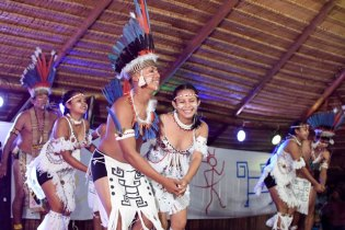 The Surama Cultural Group performing 'nine nations delivery'.