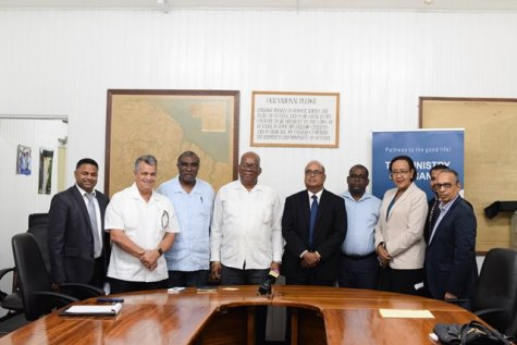 Minister of Finance, Winston Jordan [fourth from left] with Private Sector Commision (PSC) executives.