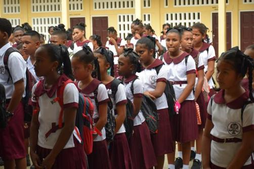 Students from the Three Mile Secondary School all set for the new school term.
