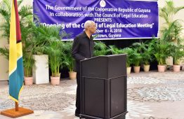 President David Granger delivers his address at the opening ceremony of the 50th Meeting of the Council of Legal Education