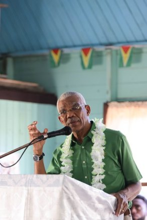 President David Granger addressing residents at Sisters Village, East Bank Berbice.