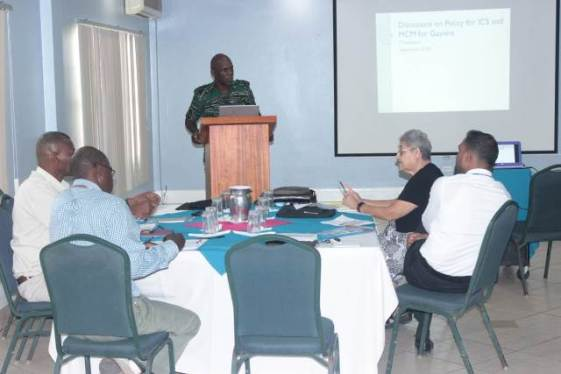 Director-General (ag) of the Civil Defence Commission (CDC), Lieutenant Colonel Kester Craig addressing participants of the Validation Workshop on the National Incident Command System and Mass Casualty Management Policies.