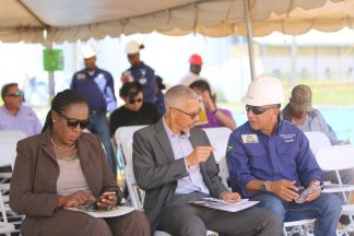 Minister of Business, Dominic Gaskin and Minister of Education, Nicolette Henry at the live demonstration exercise