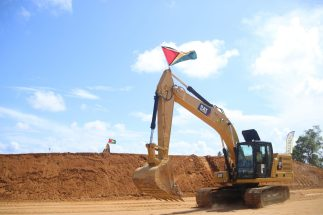 The Caterpillar (CAT) 320 hydraulic excavator dueing the live demonstration