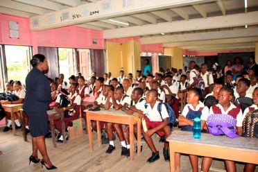 Students of Vryman's Erven Secondary School being addressed by the Education Minister.