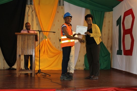Ms. Jehanne King, the lone female participant of the Heavy-Duty Equipment Training Programme.
