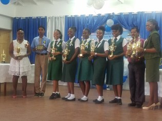 Some of the students with their awards.
