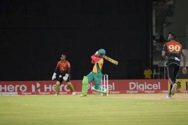 Shimron Hetmyer as he clobbers Kevon Cooper for a maximum.