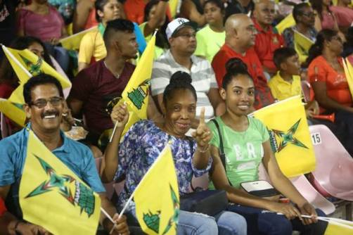 Capacity crowd at the National Stadium supporting the home side, Guyana Amazon Warriors.