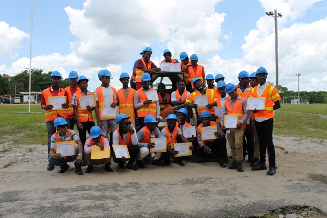 The Participants of the 2nd Heavy-Duty Equipment Training Programme hosted by the Ministry of the Presidency's Department of Social Cohesion, Culture, Youth and Sport in collaboration with the Ministry of Social Protection's Board of Industrial Training.