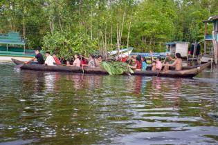 Venezuelan indigenous immigrants using a canoe as transportation along the Aruka-Barima river in Region One